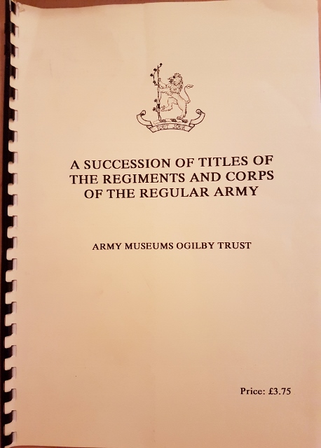Image for A Succession of Titles of the Regiments and Corps of the Regular Army