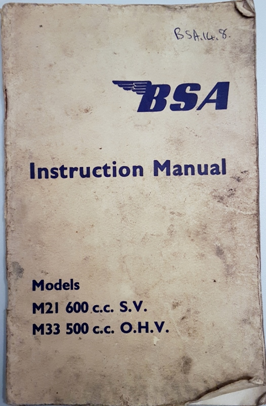 Image for BSA Instruction Manual M21 600cc S.V.  - M33 500cc O.H.V.