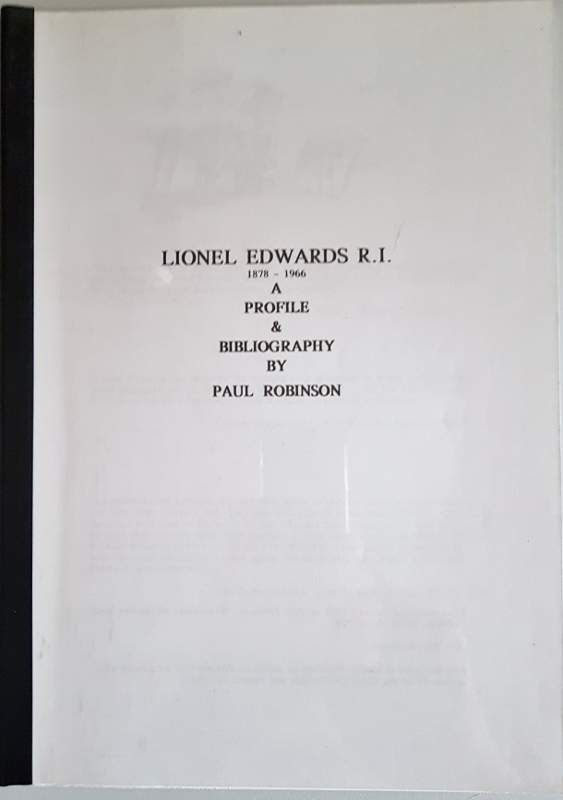 Image for Lionel Edwards R.I. 1878-1966. A Profile & Bibliography