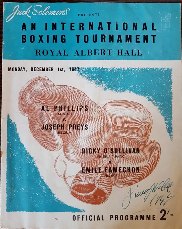 Image for Jack Solomons Presents An International Boxing Tournament Royal Albert Hall Monday December 1st, 1947 - Official Programme