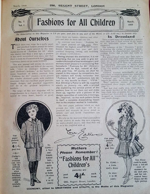 Image for Fashions for All Children : Volume I Nos. 1 to 6, March -August 1909